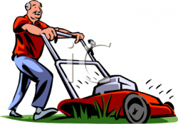 Men clipart mowing lawn