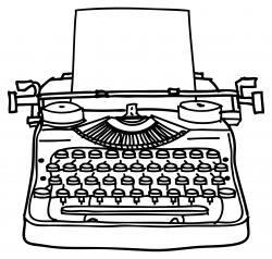 Drawn typewriter old typewriter