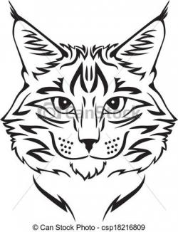 Maine Coon clipart grey white