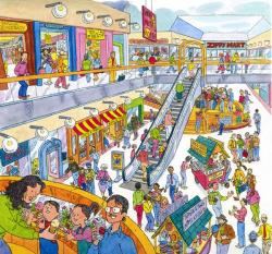 Mall clipart market scene