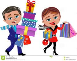 Women clipart christmas shopping