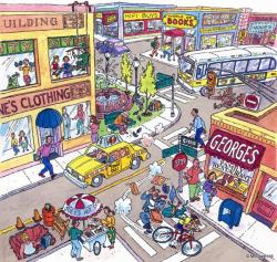 Market clipart busy town