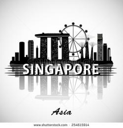 Marina Bay Sands clipart singapore skyline