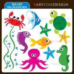 Marine Life clipart colorful