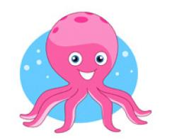 Marine Life clipart pink octopus