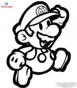 Mario clipart coloring sheet