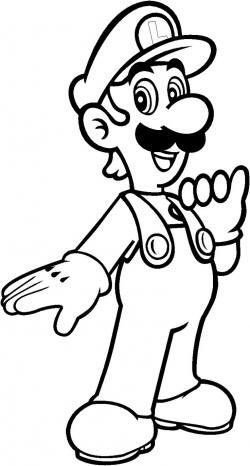 Mario clipart colouring page