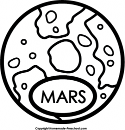 Mars clipart black and white