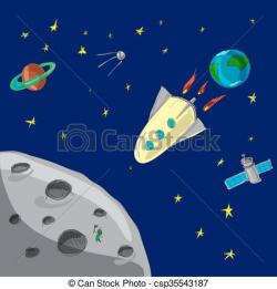 Mars clipart rocket to moon