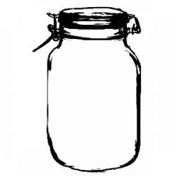 Drawn mason jar transparent