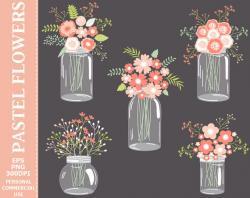 Mason Jar clipart pastel flower