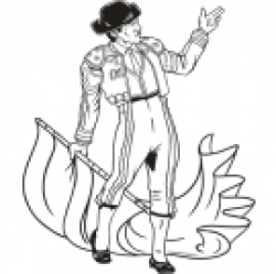 Matador clipart black and white