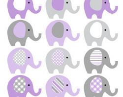Mauve clipart baby elephant