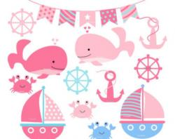 Anchor clipart pink baby whale