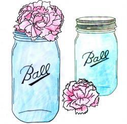 Drawn mason jar teal