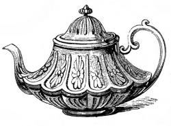 Drawn teapot vintage