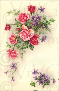Vintage Flower clipart postcard