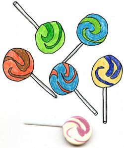 Drawn lollipop candy