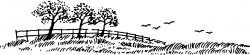 Meadow clipart black and white