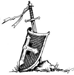 Drawn shield black and white