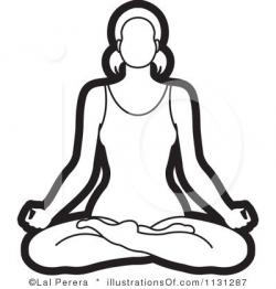 Meditation clipart black and white
