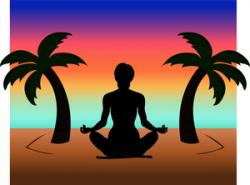 Meditation clipart island sunset