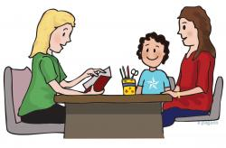 Meeting clipart teacher and student
