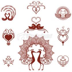 Drawn lovebird swan
