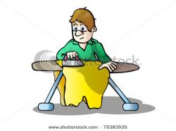 Men clipart ironing clothes