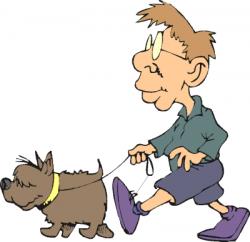 Men clipart walking dog