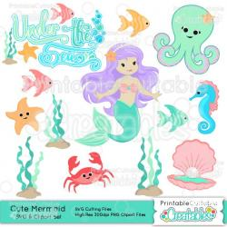 Mermaid clipart cute mermaid