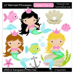 Mermaid clipart digital