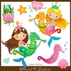 Mermaid clipart seahorse