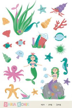 Mermaid clipart underwater