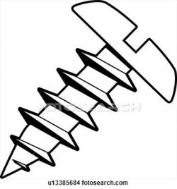 Screws clipart black and white