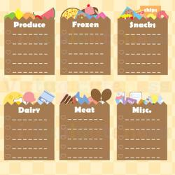 Paper clipart shopping list