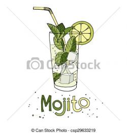 Mojito clipart black and white