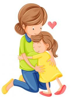 Cuddling clipart mom kid
