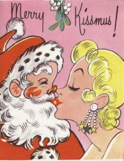 Mommy clipart kissing santa