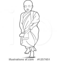 Monk clipart black and white