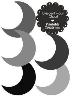 Gray clipart crescent moon