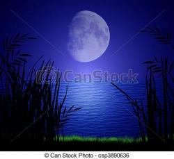 Moonlight clipart water