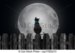 Moonlight clipart cat