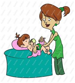 Mother And Baby clipart diaper change