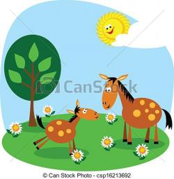 Foal clipart mother and baby