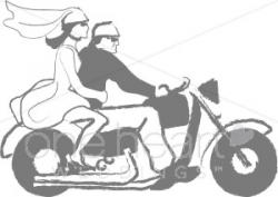 Motorcycle clipart bride and groom