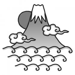 Mount Fuji clipart black and white