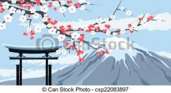Mount Fuji clipart japanese gate