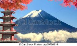 Mount Fuji clipart japanese temple