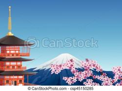 Mount Fuji clipart pagoda